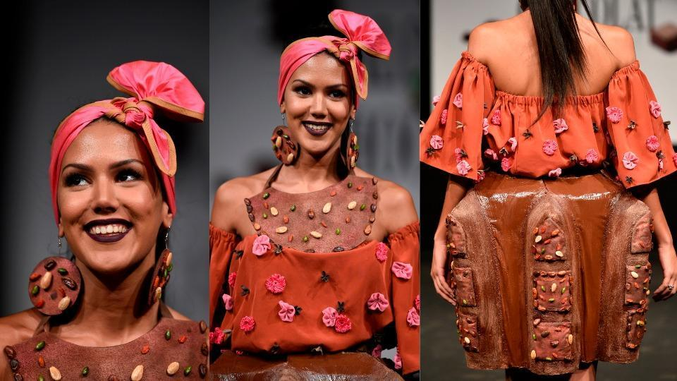 Chocolate was moulded into whimsical designs from evening gowns to cocktail dresses to hats.
