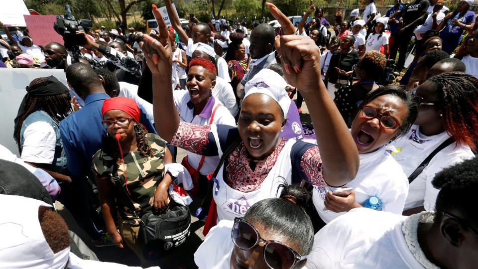 Activists protest against unethical conduct by the staff and mismanagement allegations outside the Kenyatta National Hospital in Nairobi, Kenya January 23, 2018.
