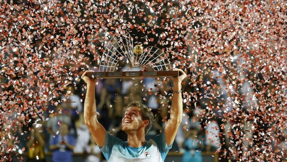 Diego Schwartzman of Argentina celebrates after winning his final match against Fernando Verdasco of Spain during the ATP 500 Rio Open in Rio de Janeiro, Brazil. (Sergio Moraes / REUTERS)