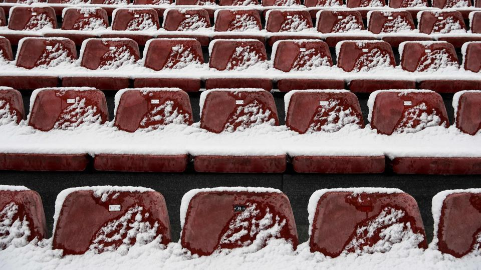Snow covers tribune seats at the Circuit de Catalunya in Montmelo, on the outskirts of Barcelona.The death toll Europe-wide continued to climb to more than 50, as another three people perished in Poland, taking the number of victims there to 21, most of them rough sleepers. (Josep Lago  / AFP)