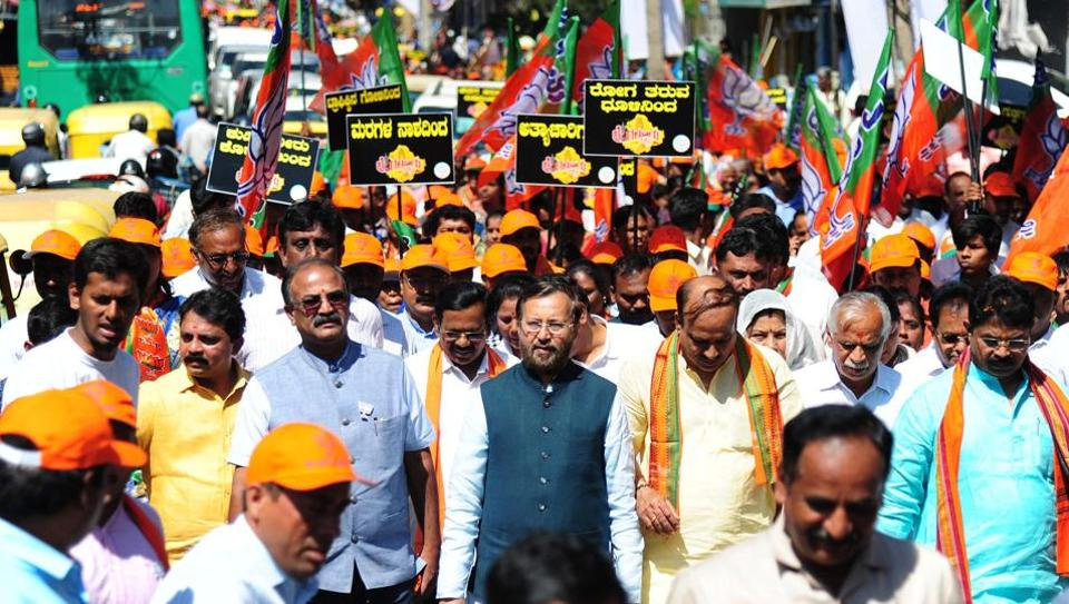 Union ministers Prakash Javadekar, Ananth Kumar and DV Sadananda Gowda take out the Bengaluru Rakshisi Padayatra in the Karnataka capital on Friday.