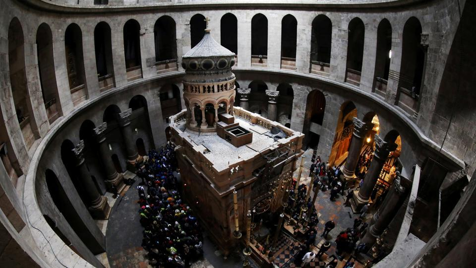 A fish-eye view of the Edicule of the Tomb at the Church of the Holy Sepulchre in Jerusalem's Old City, after it opened doors to visitors following a three day shutdown over a standoff with the government regarding municipal dues owed. (Ammar Awad / REUTERS)