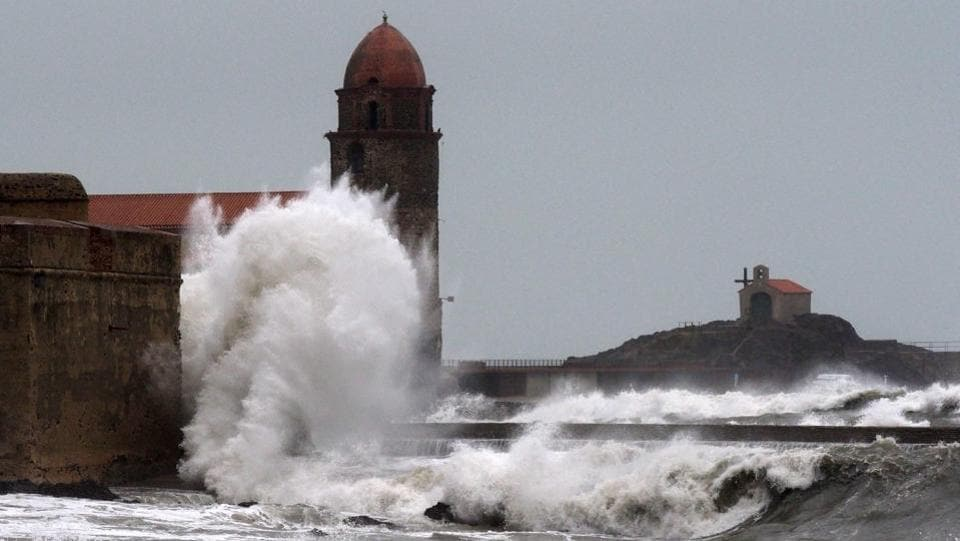 Waves lash the coast at Collioure in southern France. Since last Friday, Europe has been locked in a Siberian weather pattern that has pummeled the continent with snow, freezing rain and brutal wind chills, paralysing cities. (Raymond Roig / AFP)