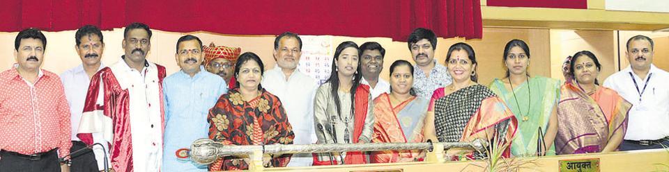From left: NCP house leader Yogesh Behl, Shiv Sena house leader Rahul Kalate, BJP house leader Eknath Pawar, mayor Nitin Kalje, Rahul Jadhav, deputy mayor Shailaja More, Vilas Madhegiri, Pradnya Khanolkar, Sagar Angholkar, Mamata Gaikwad, Shital Shinde, standing committee chairperson Seema Salve, Namrata Londhe, Geeta Mancharkar and PCMC commissioner Shravan Hardikar at the swearing-in of eight new members to the standing committee.