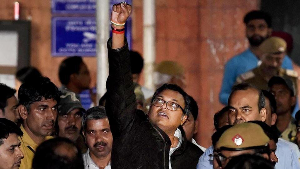 Karti Chidambaram leaves Patiala House Courts after he was remanded to five-day CBI custody in the INX Media case, in New Delhi. (Arun Sharma / PTI)