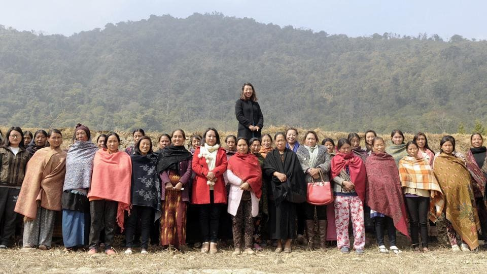 Rekha Rose Dukru, independent candidate of 17th Chizami meets villagers during an Assembly election campaign at Tsupfume village in Nagaland. (Samir Jana / HT Photo)