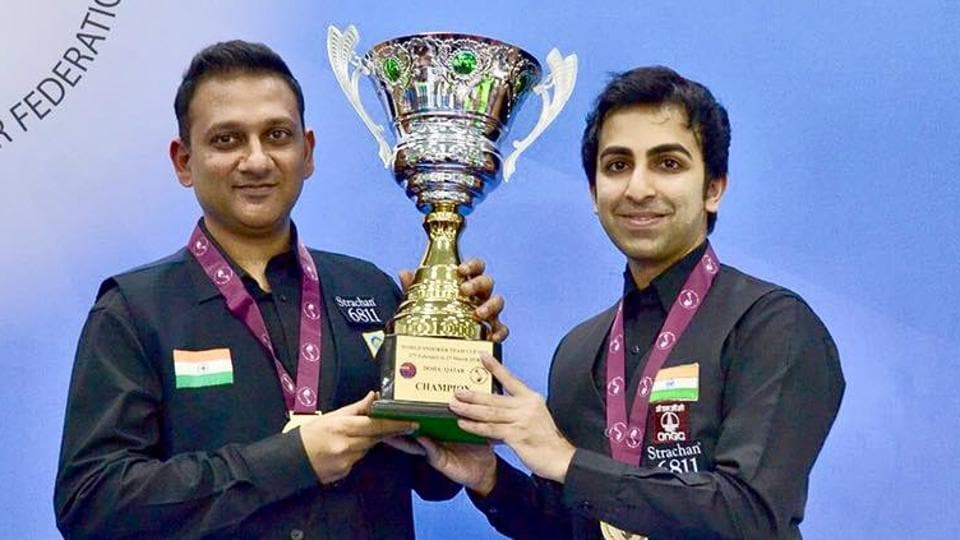 Pankaj Advani (R) and Manan Chandra helped India beat Pakistan in final of the IBSF Snooker Team World Cup.