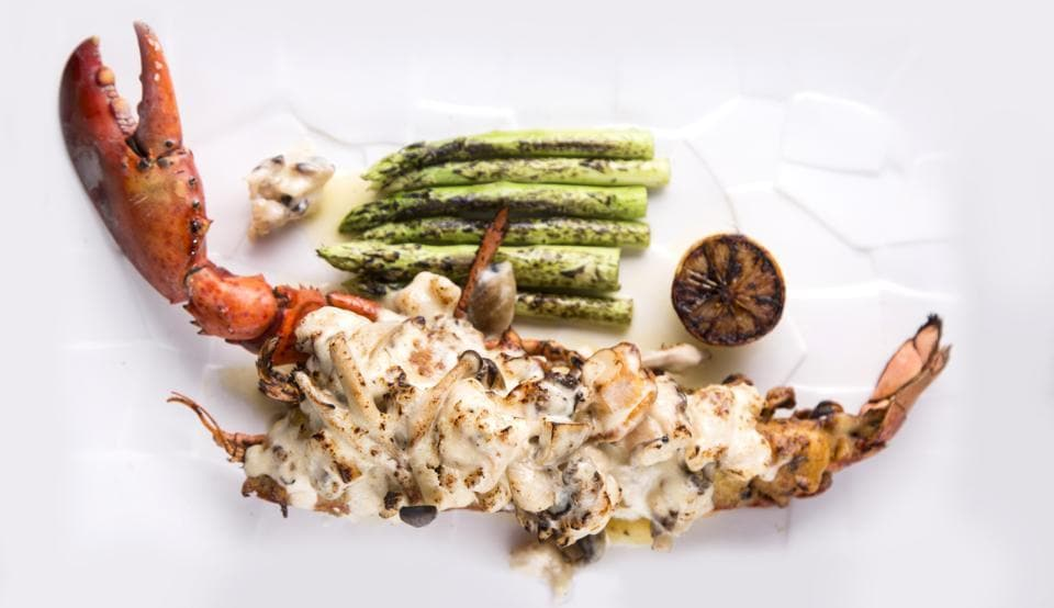 The lovely Luna Gusta on the 38th floor of the swanky St. Regis hotel in Mumbai offers a real Lobster Thermidor with lobster flown in from Boston