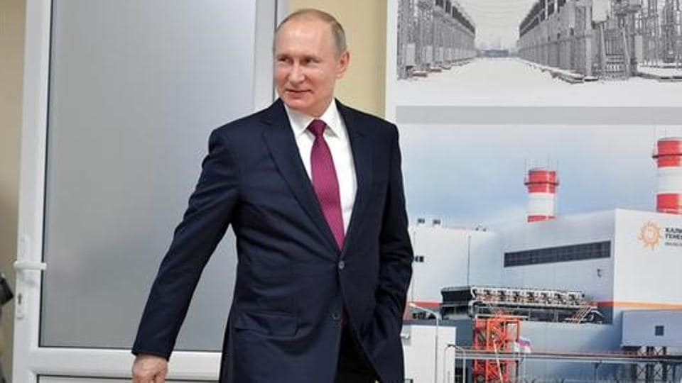 Russian President Vladimir Putin arrives for a ceremony launching Mayakovskaya and Talakhovskaya thermal power plants in Kaliningrad region in Russia on Friday.