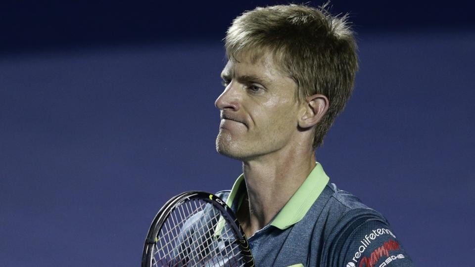 South Africa's Kevin Anderson celebrates after defeating Jared Donaldson during their semi-final match at the Mexican Tennis Open in Acapulco.