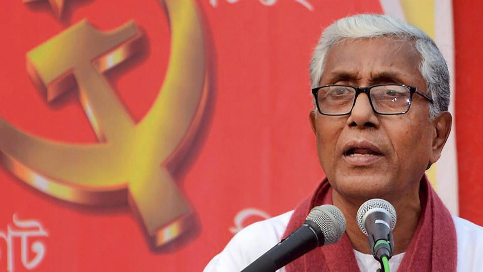 Manik Sarkar at an election campaign rally in Gandhigram in early February 2018. Sarkar is Tripura's longest serving chief minister having been 20 years at the helm.
