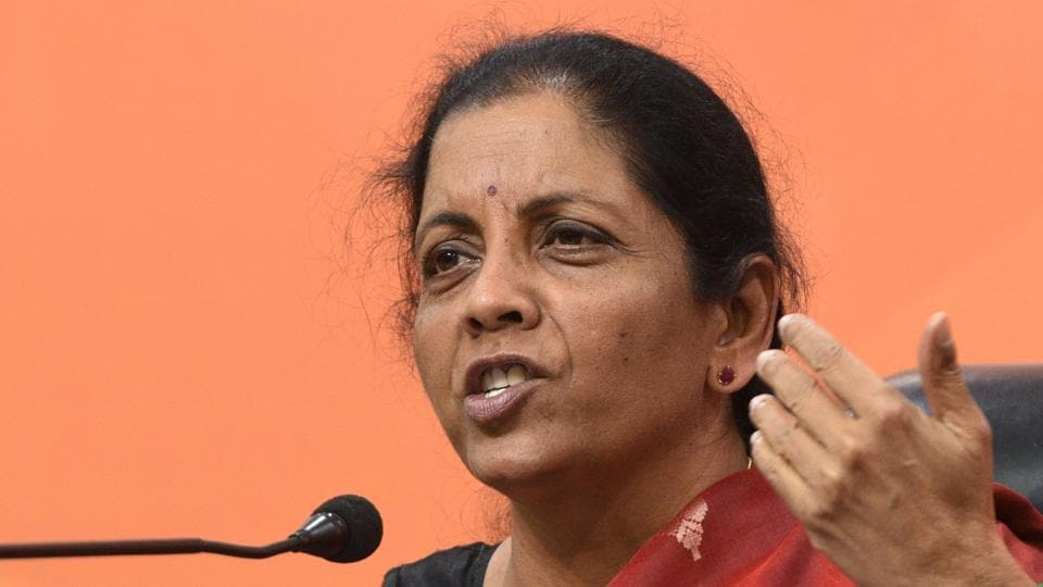 Defence minister Nirmala Sitharaman addresses a press conference in New Delhi.