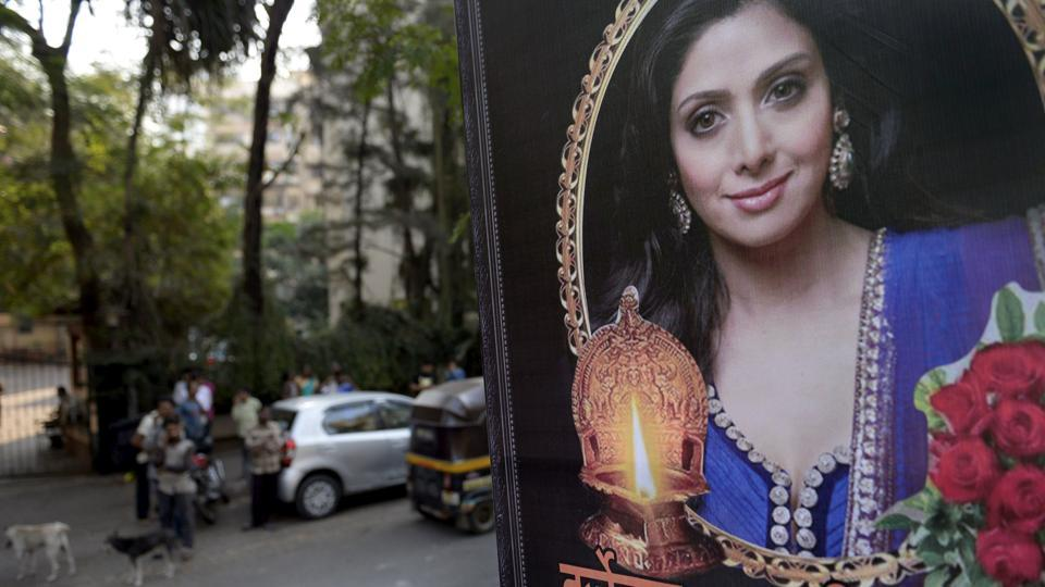People outside late Sridevi's residence in Mumbai on Tuesday.