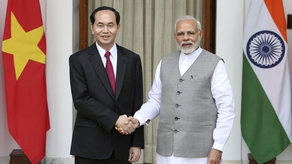 Prime Minister Narendra Modi shakes hands with Vietnamese President Tran Dai Quang, before their delegation level meeting in New Delhi on Saturday.