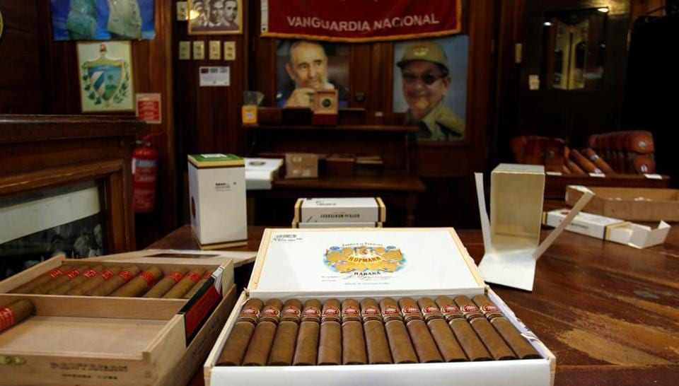 Cigar boxes are displayed for sale at the H Upmann cigar factory store during the XX Habanos Festival in Cuba.