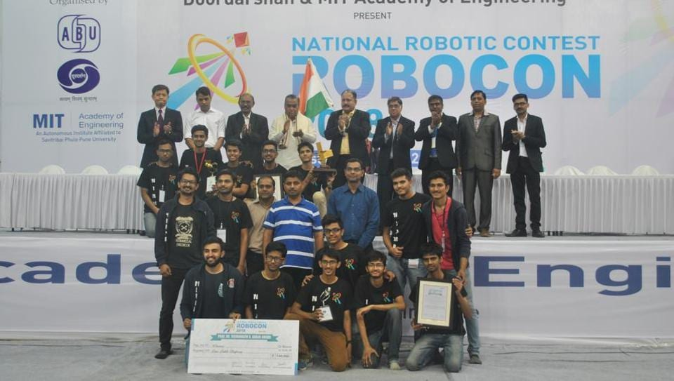 Institute of Technology, Nirma University after winning the 13th ABU National Robocon 2018 on Saturday.