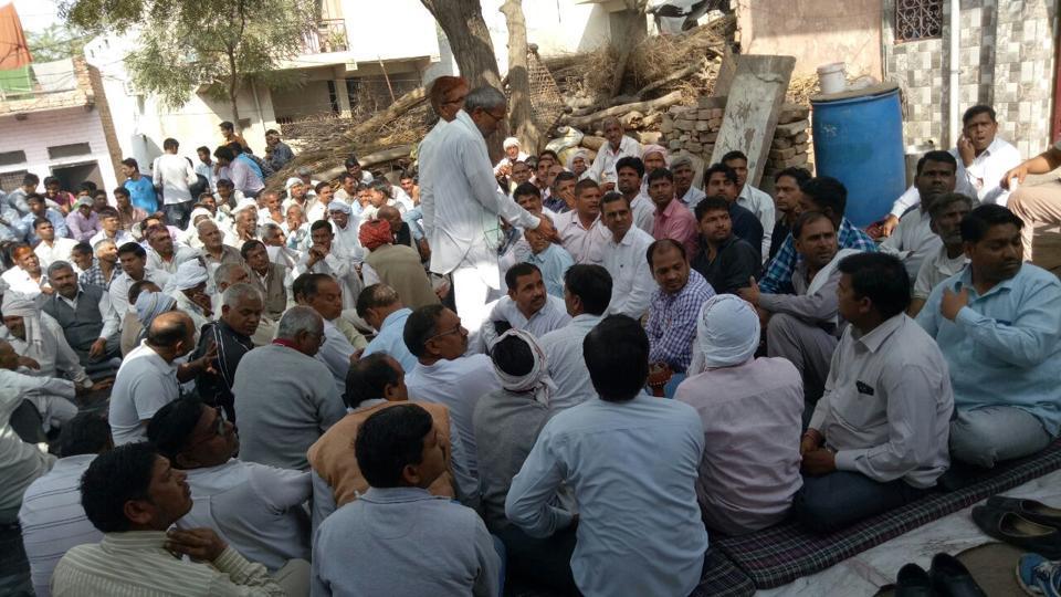 Dalits meet at Bhiwadi village in Alwar on Sunday.