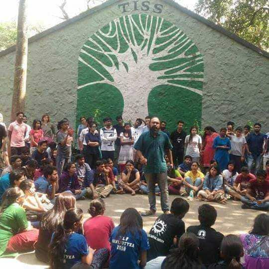 Students protest at TISScampus last week.