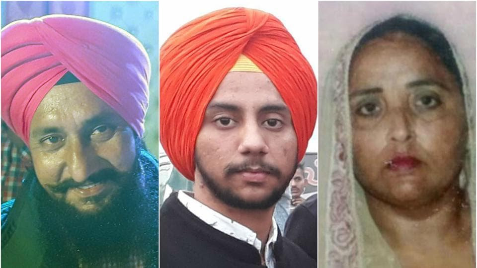 The deceased were identified as Sukhdev Singh (left), 50, who worked as a security guard in a factory, his wife Gurmeet Kaur, 48, and son Harjot Singh, 25.