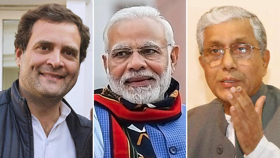 Congress President Rahul Gandhi, Prime Minister Narendra Modi and outgoing Tripura CMManik Sarkar.