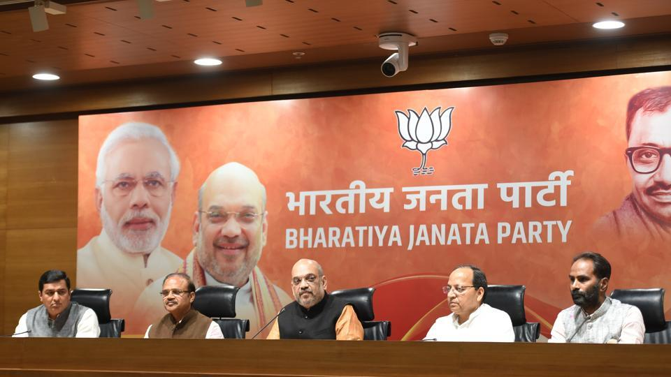 BJP Chief Amit Shah addressing media after their victory in North Eastern States Elections at BJP Headquarters, DDU Marg in New Delhi, India, on Saturday, March 03, 2018.
