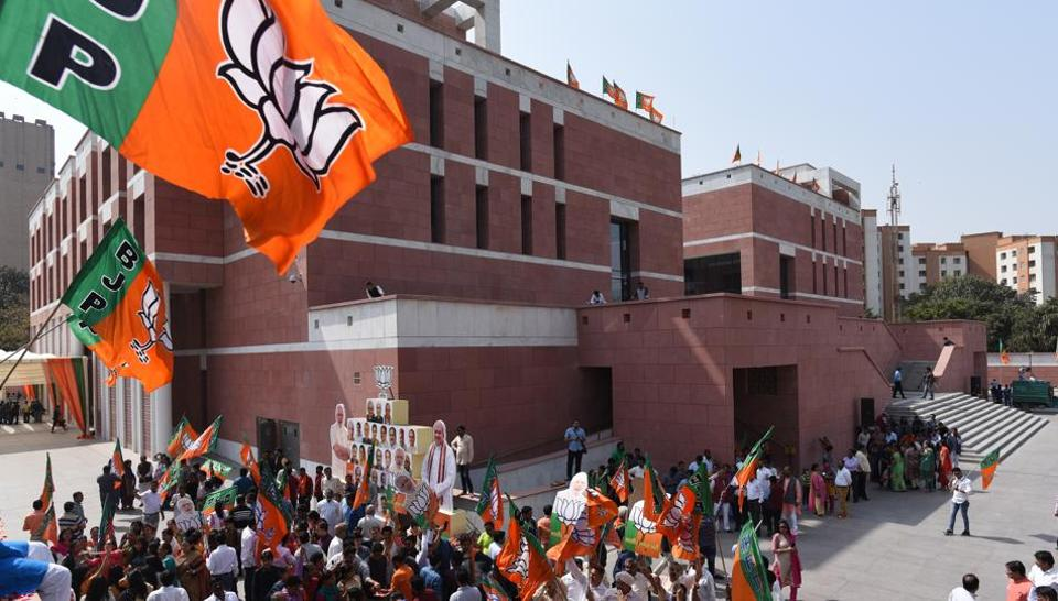 BJP Supporters celebrate their victory in North Eastern States Elections at BJP Headquarters, DDU Marg in New Delhi, India, on Saturday, March 03, 2018.