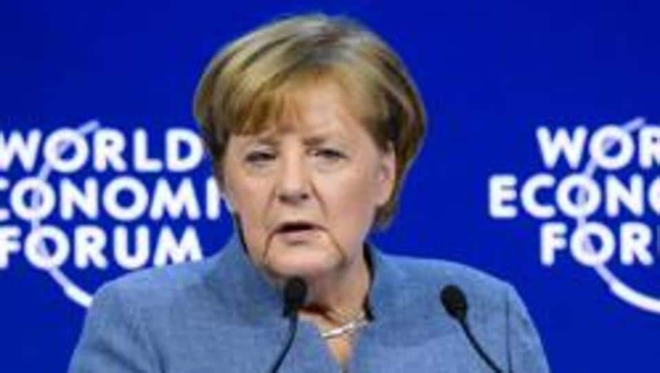 German chancellor Angela Merkel addreses the annual World Economic Forum (WEF) on January 24, 2018 in Davos, eastern Switzerland.