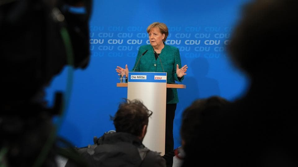 Angela Merkel, Germany's chancellor and Christian Democratic Union (CDU) leader, speaks during a meeting of CDU lawmakers at the party's headquarters in Berlin, Germany, on Sunday, Feb. 25, 2018.