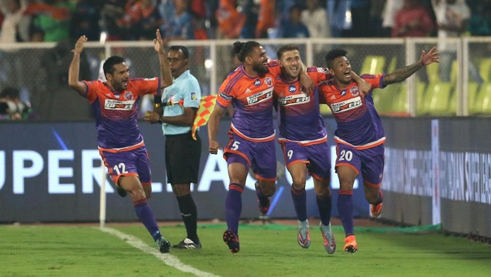 FC Pune City players celebrates a goal during match 11 of the Hero Indian Super League between FC Pune City and Mumbai City FC held at the Shree Shiv Chhatrapati sports complex stadium, Balewadi.