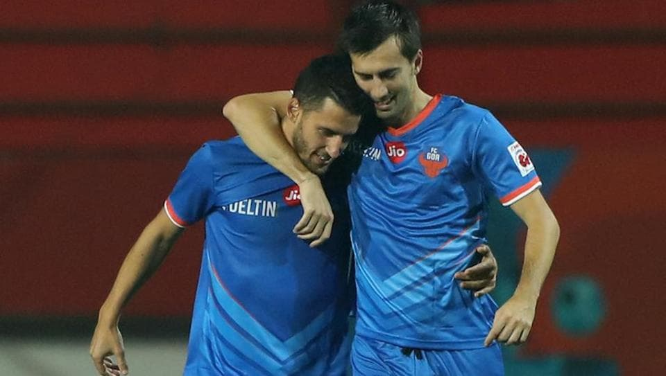 Ferran Corominas celebtare his goal with during the Indian Super League between Jamshedpur FC and FC Goa held at the JRD Tata Sports Complex, Jamshedpur, India on the 10th February, 2018.