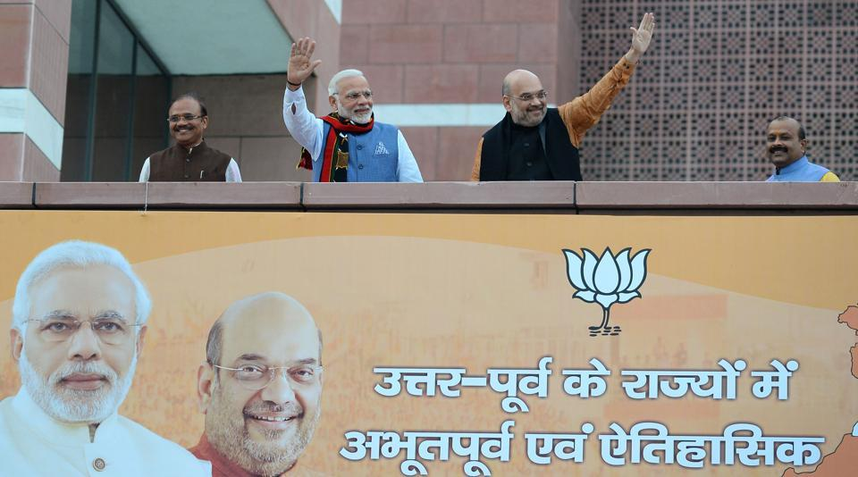 Prime Minister Narendra Modi and BJPpresident Amit Shah at the BJP headquarters in New Delhi on March 3