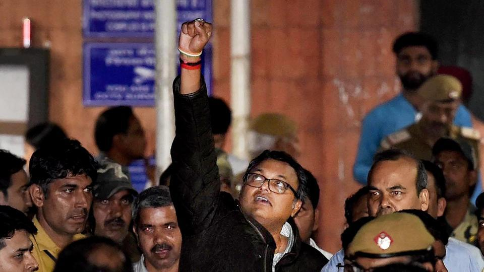 Karti Chidambaram leaves Patiala House Courts after he was remanded to five-day CBI custody in the INX Media case, in New Delhi on March 1.