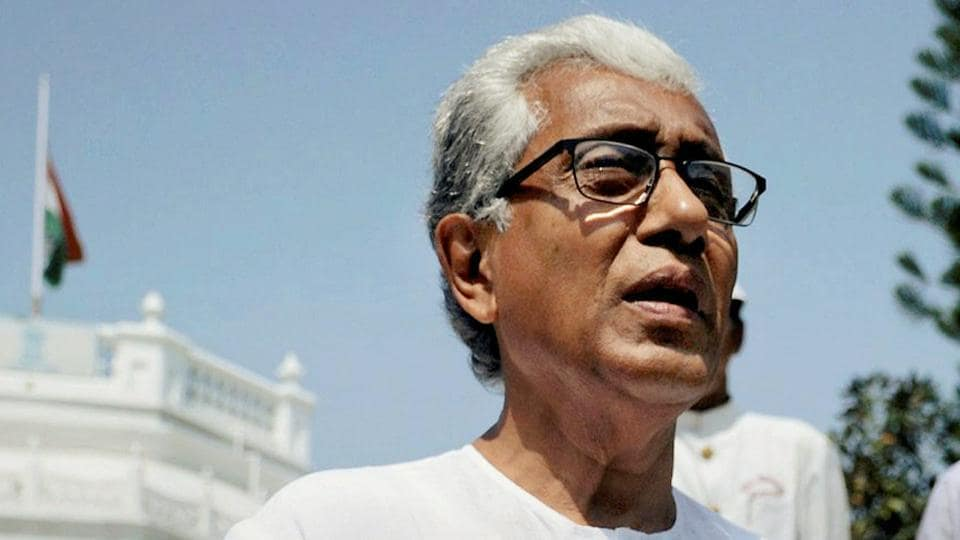 Tripura chief minister Manik Sarka leave the Raj Bhavan after submitting his resignation to governor, in Agartala on Sunday.