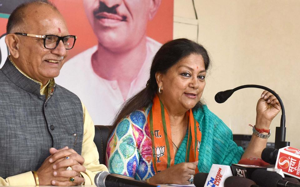 Chief minister Vasundhara Raje speaks to the media at the state BJP office in Jaipur on Sunday.
