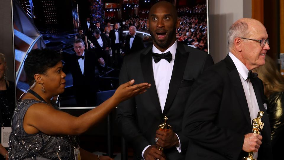 "The retired NBA star Kobe Bryant won the best animated short category at Sunday's Academy Awards for ""Dear Basketball"" based on his 2015 poem for The Players Tribune. The film sees an animated Bryant explain his love of the sport he played professionally for 20 years. (Mike Blake / REUTERS)"