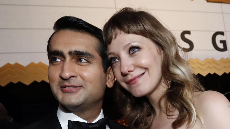 Kumail Nanjiani and Emily V Gordon attend the Governor's Ball post the Oscars.