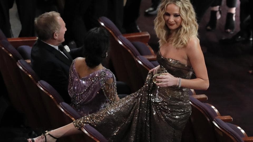 Actress Jennifer Lawrence at the Academy Awards venue on Sunday. (Lucas Jackson / REUTERS)