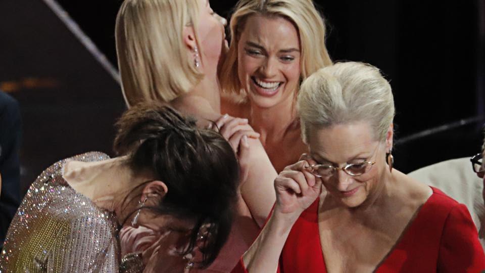 Sally Hawkins, Saoirse Ronan, Margot Robbie and Meryl Streep react after Frances McDormand's Best Actress acceptance speech.
