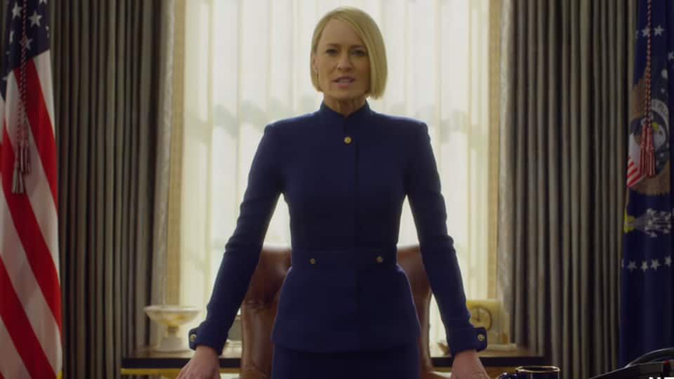 Robin Wright in a still from the final season of House of Cards.