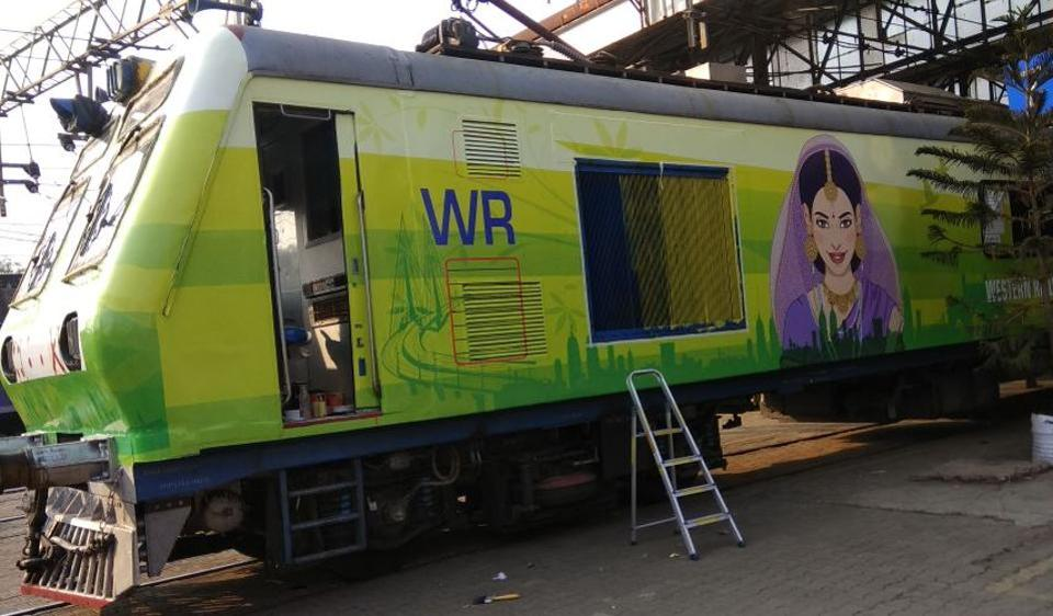 The two women's coaches have been painted lime green and were seen first on Monday morning.