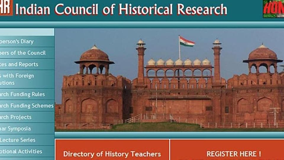 A screen grab of the Indian Council of Historical Research website.