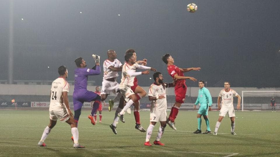 East Bengal vs Shillong Lajong I-League match in progress at the Jawaharlal Nehru Stadium in Shillong on Monday.