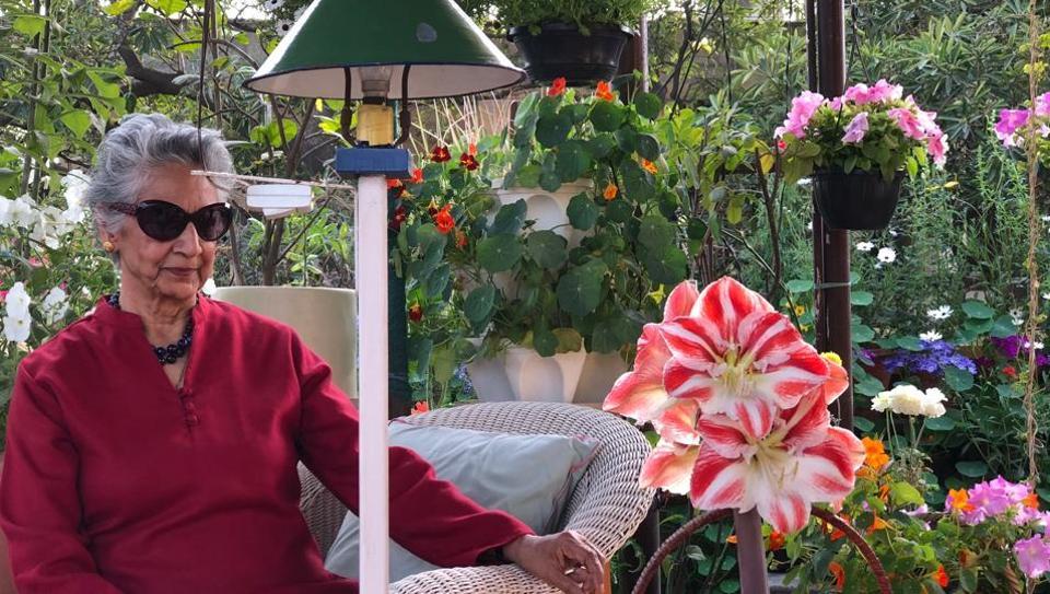 Indira Dayal  at her rooftop garden in Anand Niketan.