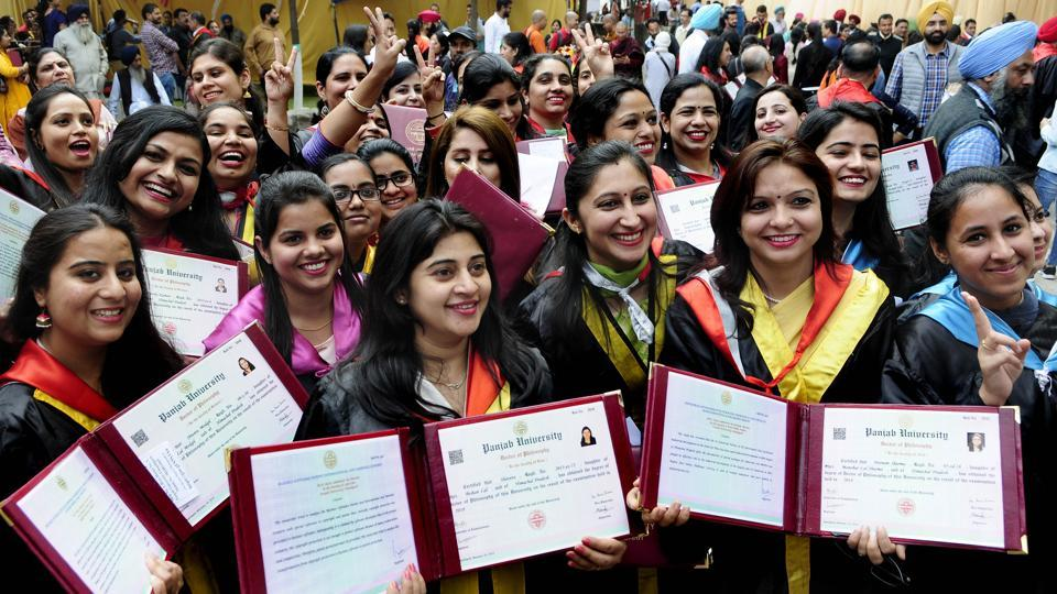 Students are all smiles after receiving their degrees at the 67th annual convocation at Punjab University in Chandigarh on Sunday.
