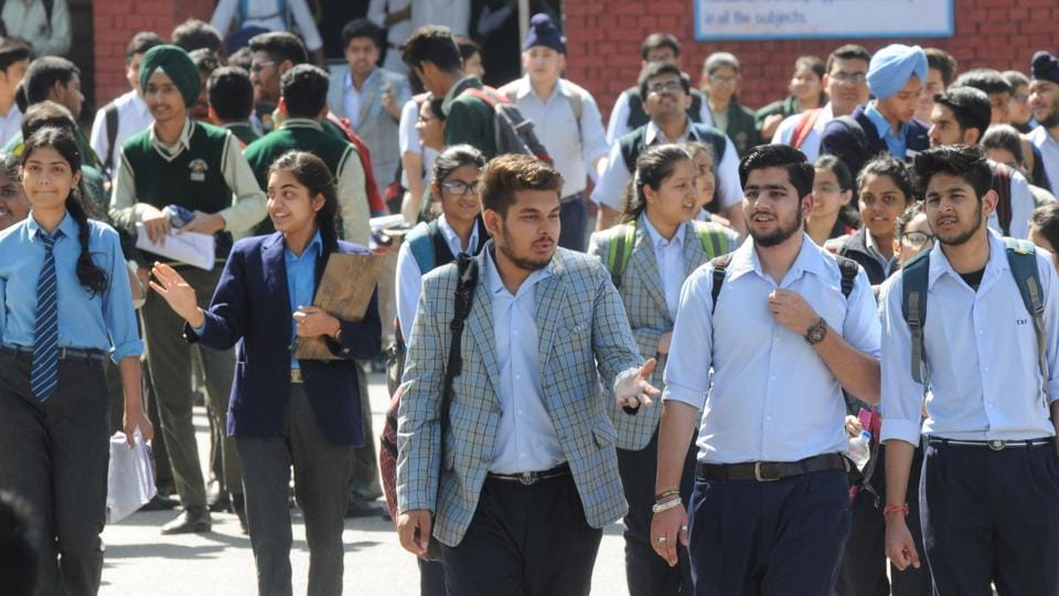 Students coming out from the exam centre  at Government Model Senior Secondary School, Sector 16 Chandigarh after completing their first paper, English, on Monday.