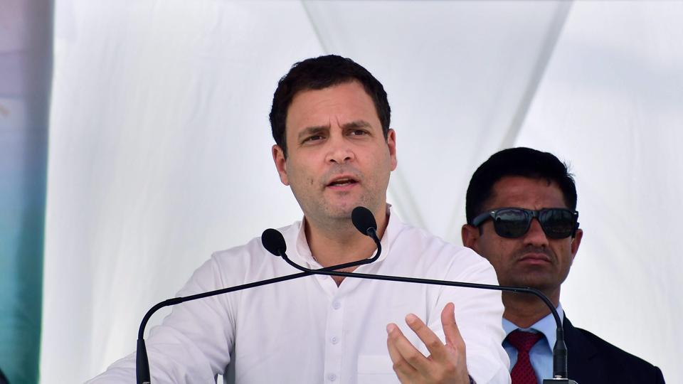 Congress president Rahul Gandhi addresses an election campaign rally Mendhipathar North Garo Hills Meghalaya February 20