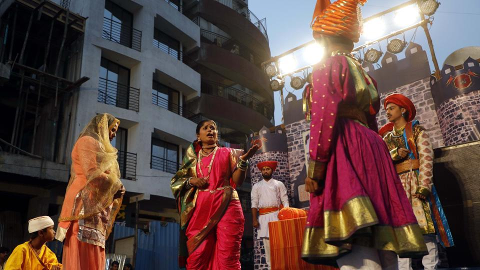 A play performed on the occasion of Shiv Jayanthi, celebrated according to the Marathi calendar, at Nana peth on Sunday. (rahul raut/ht photo)