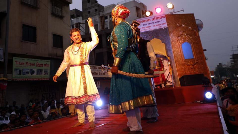 Play depicting the life of Shivaji Maharaj performed on the occasion of Shiv Jayanthi, celebrated according to the Marathi calendar, at Nana peth on Sunday. (rahul raut/ht photo)