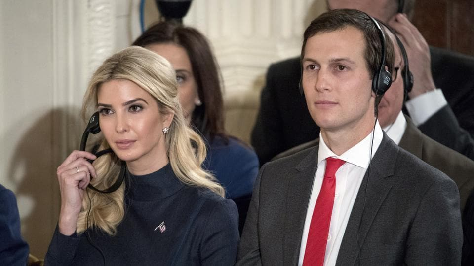 Ivanka Trump, the daughter of President Donald Trump, and her husband Jared Kushner, senior adviser to President Donald Trump, attend a joint news conference with the president and German Chancellor Angela Merkel in the East Room of the White House in Washington.