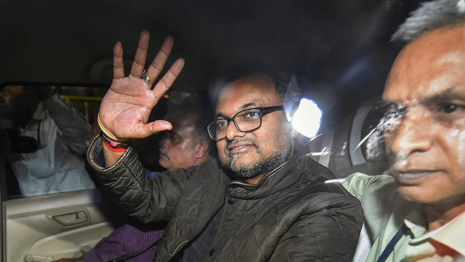 Karti Chidambaram leaves Patiala House Courts in New Delhi on Wednesday.